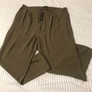 forever 21 olive green chiffon flowy jogger pants